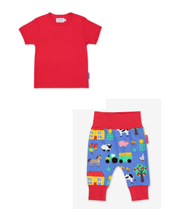 Set Red Basic Shirt & Farm Print Yoga Pants