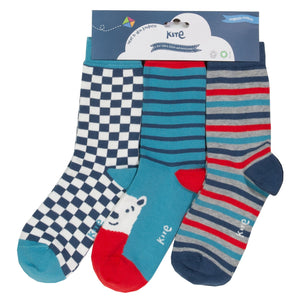 Three pack Socks Bear Stripes and Check