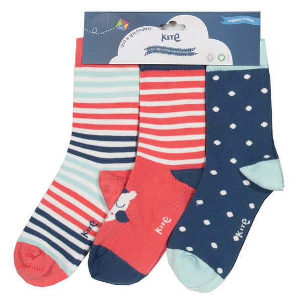 Owl Stripes Polka Dot Socks 3-pack