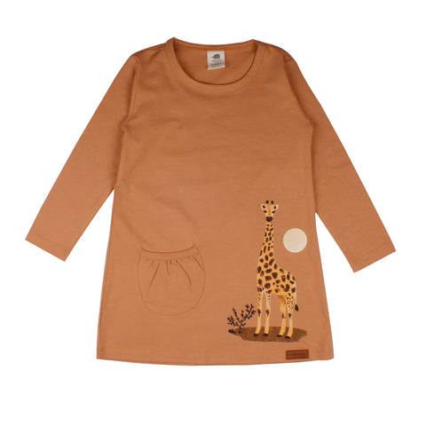 Long Sleeve Pocket Tunic -Giraffe Print