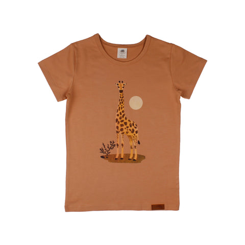 Short Sleeve T-Shirt -Giraffe Mono Print (in Camel Color)