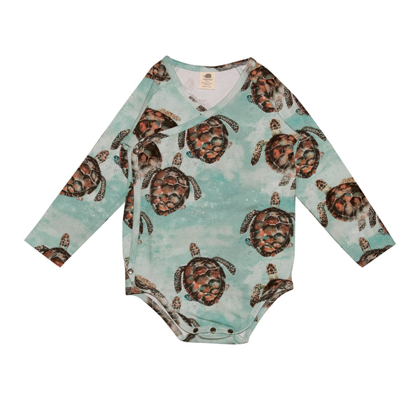 Long Sleeve Wrap Baby Bodysuit -Sea Turtles Print