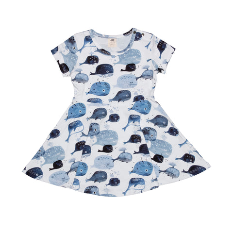Short Sleeve Skater Dress -Baby Whales Print