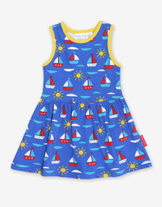 Sleeveless Blue Summer Dress -Boat Print