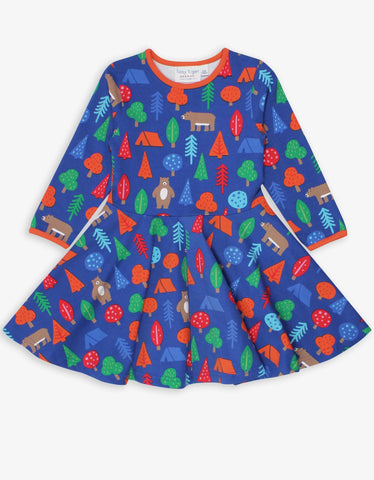 Camping Bear Print Blue Skater Dress