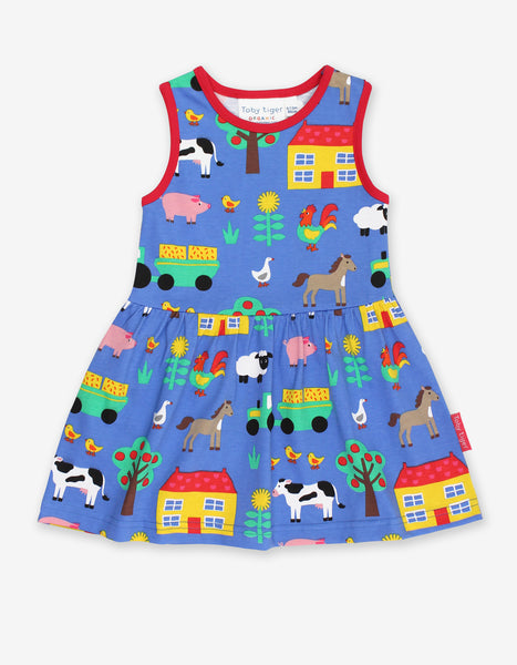 Sleeveless Blue Summer Dress -Farm Print