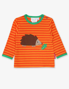 Hedgehog Appliqué T-Shirt Orange Stripes