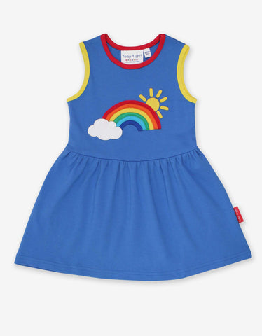 Blue Summer Dress -Rainbow Sun Cloud Applique
