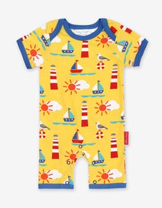 Yellow Baby Romper -Seaside Print