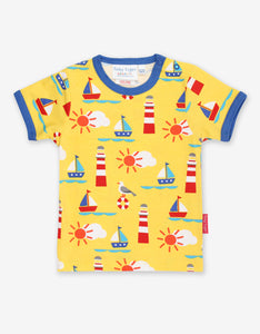 Short Sleeve Yellow T-Shirt -Seaside Print