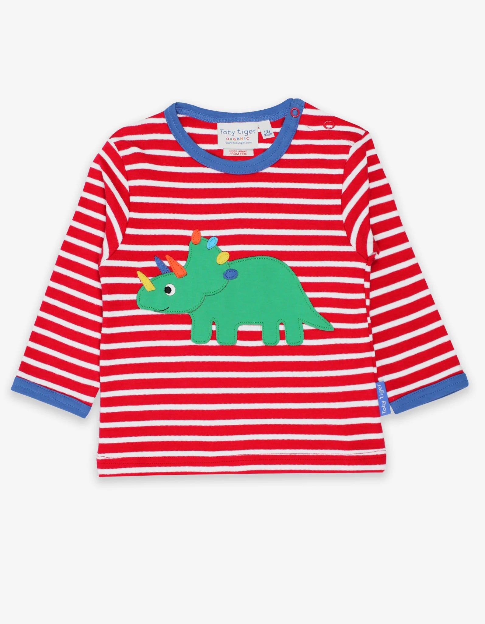 Triceratops Appliqué T-Shirt Red Stripes
