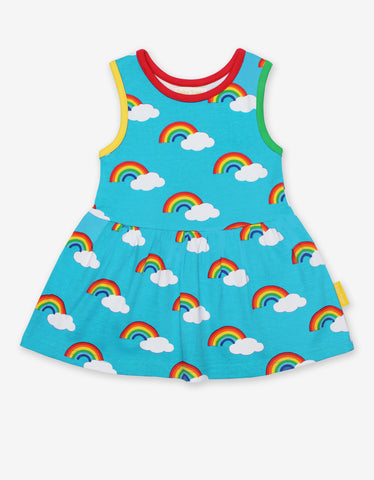 Sleeveless Turquoise Summer Dress -Rainbow Print