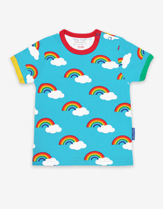 Short Sleeve T-Shirt -Turquoise Rainbow Print