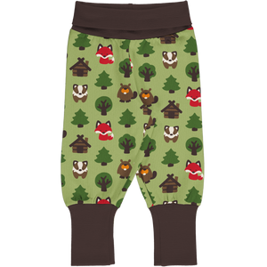 Baby Trousers/Pants Rib -Green Forest Print-