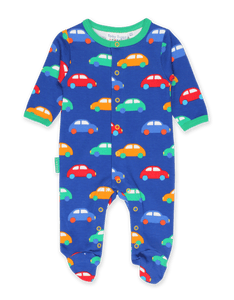 Organic Cotton Cars All Over Print Footed Sleepsuit