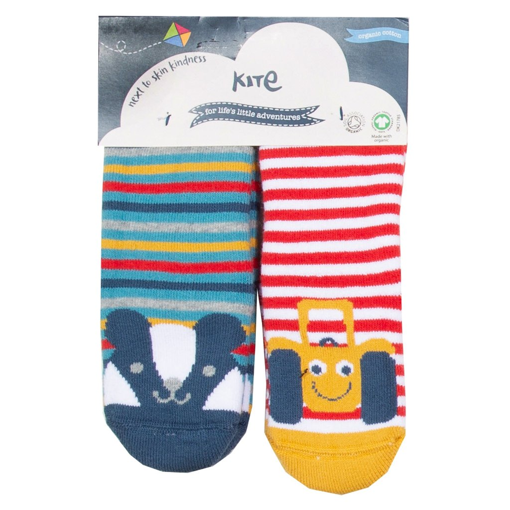Two Pack Striped Grippy Infant Socks Tractor & Badger