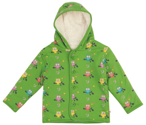 Green Owl Sherpa Fleece Hooded Jacket