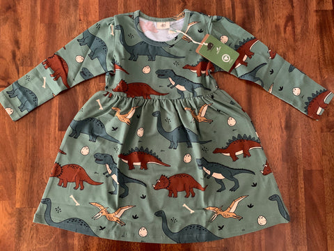 Dark Olive Green Long Sleeve Dress -Funny Dinosaurs print
