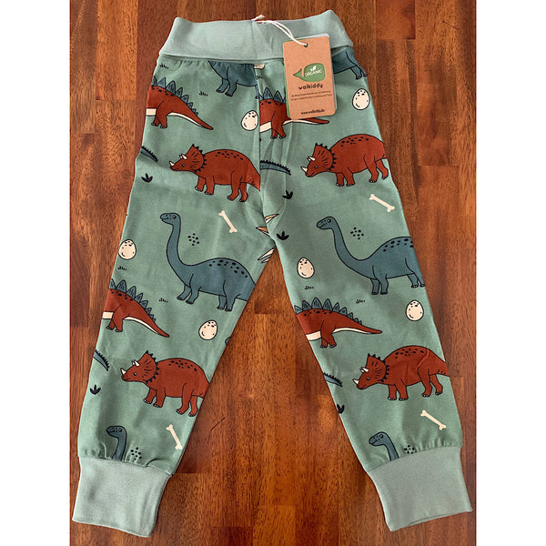 Dark Olive Green Pants/Trousers -Funny dinosaurs print-
