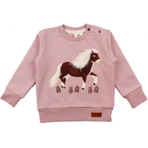 Pink Sweatshirt -Graceful Pony Mono Print-