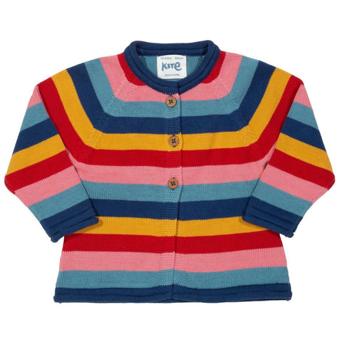 Organic Cotton Stripy Multicolor Kitty Cat Cardi