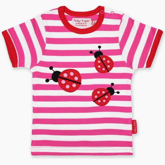 Ladybird Appliqué pink striped tee