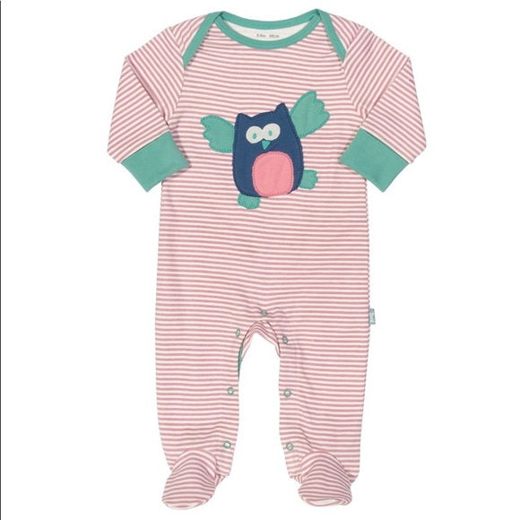 Flying Owl Appliqué Pink Striped Footed Baby Sleepsuit