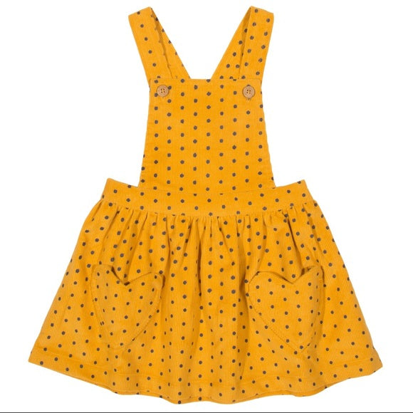 Polka dots mustard yellow dress