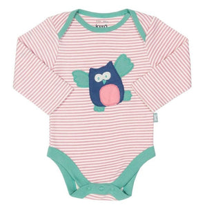 Flying Owl Appliqué Pink Striped Long Sleeve Baby Bodysuit