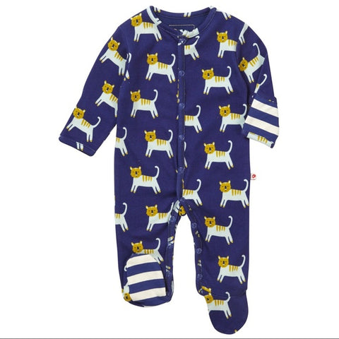 Organic Cotton Hello Tiger Blue Footed Sleepsuit