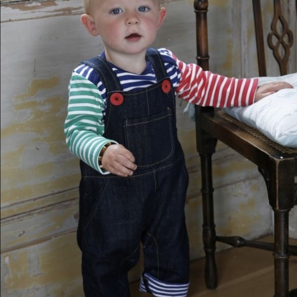 Navy Denim Overalls with Striped lining