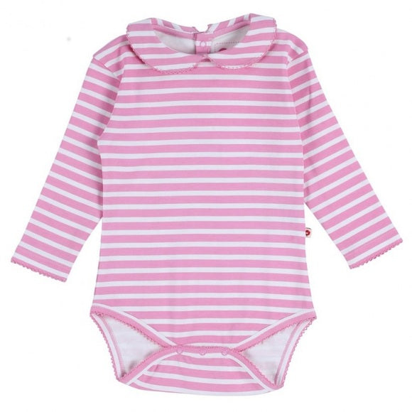 Pink Stripe Baby Bodysuit Long Sleeves