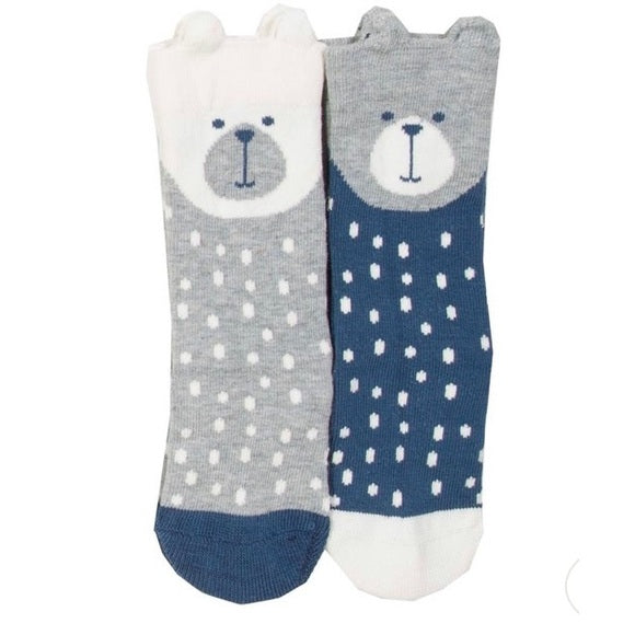 Two pack Bear Face Blue Grey Baby Socks