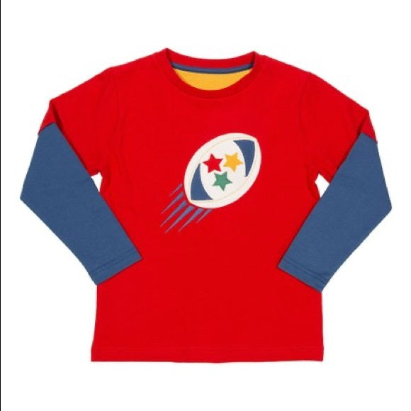 Red Rugby Long Sleeve T-Shirt