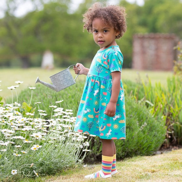 Organic Cotton 'Happy me' Green Toddler Dress