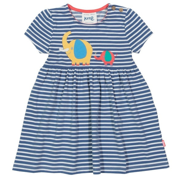 Elephant Appliqué Girl Striped Ellie Dress