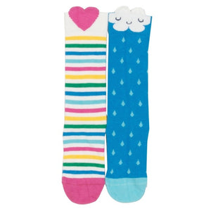 Multi-stripes Heart & Happy Cloud 2-pack Socks