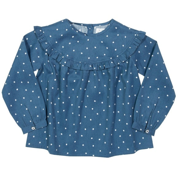 Spotty Frill Blue Blouse