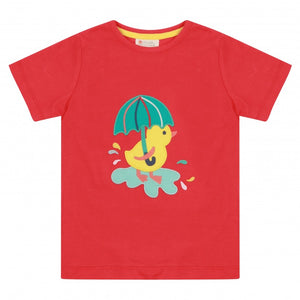 Duckling Applique Red T-Shirt -Piccalilly