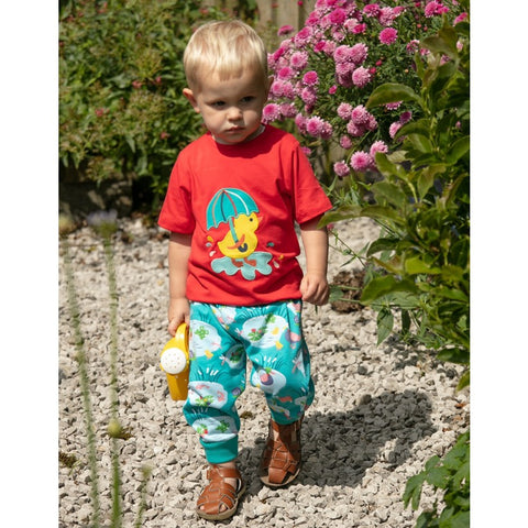 Pond & Duckling Set: Red T-Shirt & Aqua Blue Trousers
