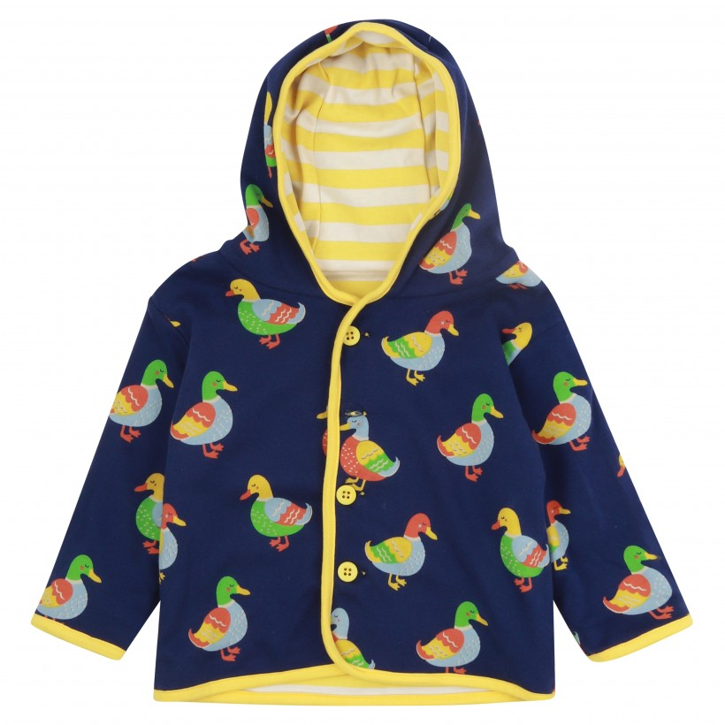 Reversible Duck Print Yellow Stripes Blue Jacket