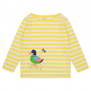 Infant Long Sleeve Stripe Yellow Top -Duck