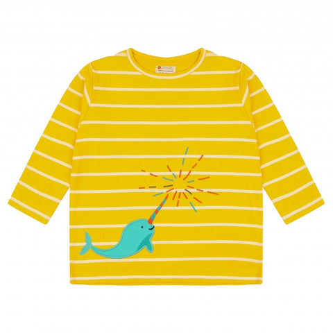 Yellow Stripy Top -Narwhal