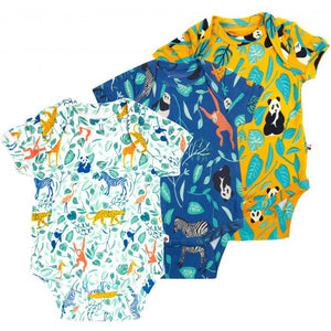 Three-pack Baby Bodysuits -Animal Adventure