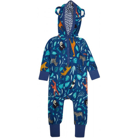 Hooded Playsuit -Wildlife Print