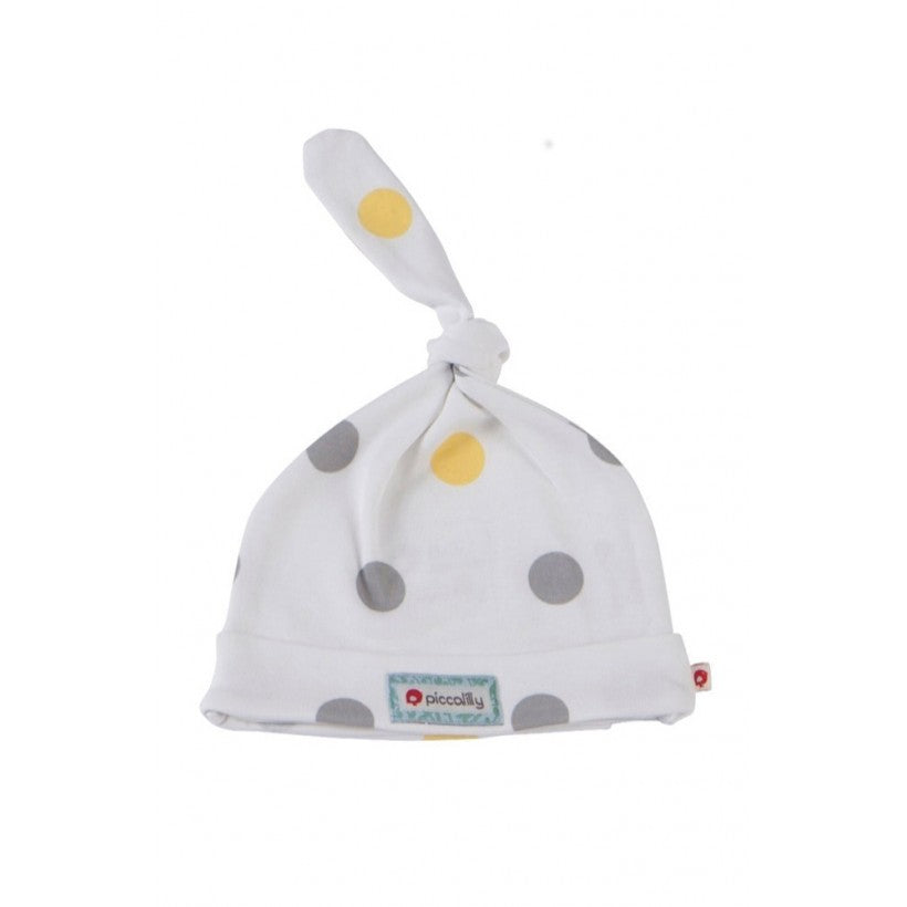 Yellow and Grey Spot Single Knot Baby Hat