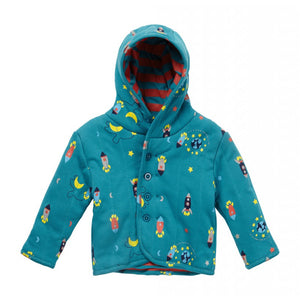 Rocket Ship Reversible Quilted Hooded Jacket