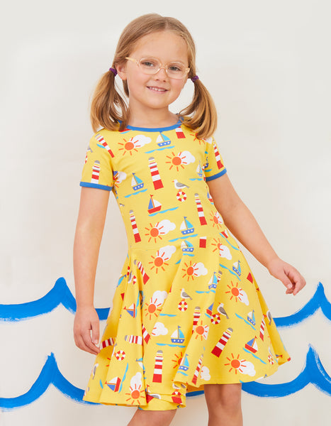 Short Sleeve Yellow Skater Dress -Seaside Print