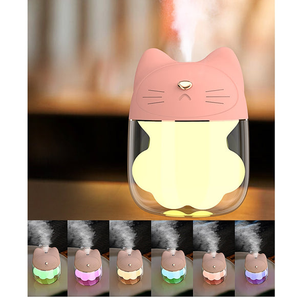 Portable Mini USB Humidifier,Cute Cat Paw Quiet Mist Humidifier with 6 Colors LED Night Light,150 ML Water Tank for Bedroom Baby