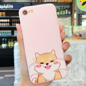 Adorable Corgi and Shiba Inu iPhone Cases (Sitting Corgi and Squeezing Shiba's cheeks) - Corg Co.